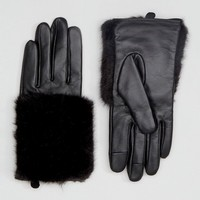 ASOS Leather & Faux Fur Mix Gloves With Touch Screen at asos.com