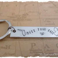 Long Distance Love - State Key Chain - Miss your face - Great Gift Idea