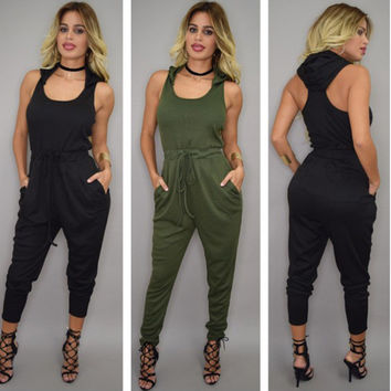 Hats High Rise Sleeveless Irregular One-piece Women's Fashion Summer Jumpsuit [4918902148]