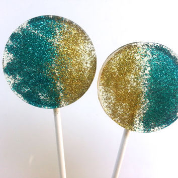 Teal and Gold Wedding Favors, Hard Candy Lollipops, Candy Lollipop,Sparkle Lollipops, Lollipops, Sweet Caroline Confections, Set of Six