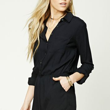 Collared Button-Front Romper