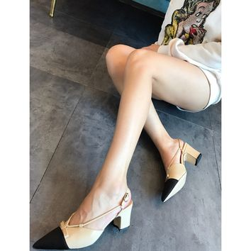 DCCK 1652 CHANNEL Leather soles Nude Shoes Black Khaki
