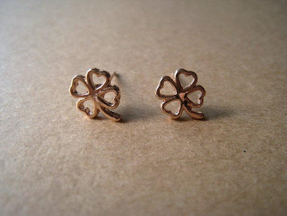 Clover Earrings Studs by Bitsofbling on Etsy