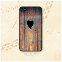 iPhone 4 and 4S case Wood and Heart