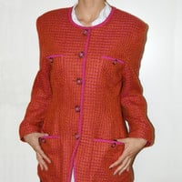 Elegant Ladies Vintage Tweed jacket Red tweed jacket Orange plaid jacket Womens Fall jacket Tartan Plaid Blazer  Blazer jacket
