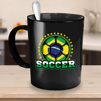 Brazil Soccer Ball Coffee Mug 11 or 15oz White or Black Ceramic Cup, Soccer Gift, Soccer Player, Soccer Mug, Brazil Flag