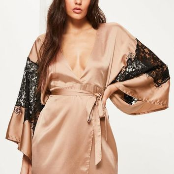 Missguided - Nude Silky Kimono Lace Insert Shift Dress