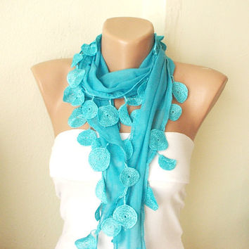 Turquoise turkish blue Cotton Scarf with Lace by Periay on Etsy
