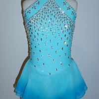 BEAUTIFUL ICE FIGURE SKATING DRESS SIZE CUSTOM MADE TO FIT