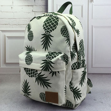 Unisex Pineapple Printed Backpack School Bookbag