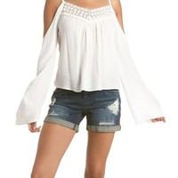 Crochet-Trim Cold Shoulder Top by Charlotte Russe