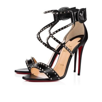 Christian Louboutin Cl Choca Spikes Black/nikel Leather Sandals 3170560m914 - Best Online Sale