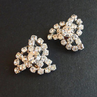 Large Vintage Silver Rhinestones Clip On Earrings - 50s Formal Party Fashion - Wedding, Bridal, Womens Gift