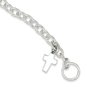 Sterling Silver Dangling Cross Charm Bracelet