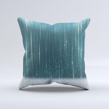 The Scratched Teal and White Surface with Silver Sparkle ink-Fuzed Decorative Throw Pillow