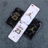 High quality Jordan 23 Soft silicon Case Cover for iPhone 10 7 X 7plus Case Luxury Marble stone for 6 S 6s Plus 8 8plus Coque