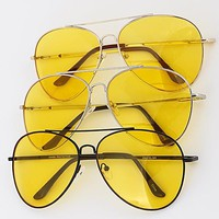 Yellow Tinted Aviator Sunglasses
