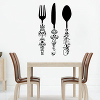Wall Decal Vinyl Sticker Decals Knife Fork Spoon Vintage Pattern Cutlery Cafe Kitchen Decor Dining Room Interior Murals Window Decal AN737