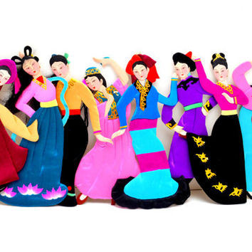 Vintage Fabric and Paper Dolls, Dancing Asian Girls with Satin Outfits and Yarn Hair, Choice of 8 Styles, circa 1950s-1960s