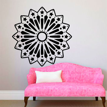 Flower Wall Decals Mandala Om Yoga Indian Pattern Stars Living Room Interior Vinyl Decal Sticker Art Mural Bedroom Kids Room Decor MR367