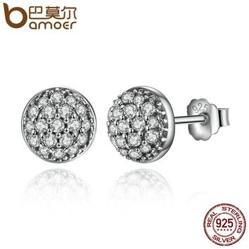 Delicate 100% 925 Sterling Silver Dazzling Droplets, Clear CZ Small Stud Earrings Women Wedding Jewelry Brincos PAS488