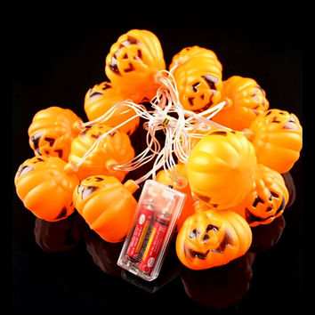 Battery Operated 3.5M 16 LED Halloween 3D Pumpkin Lights Fairy String Lights Holiday Decoration Indoor Outdoor Lights