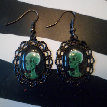 Neon green skull xray cameo earrings