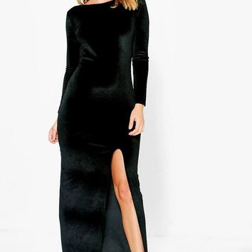 Eliana Velvet Side Split Maxi Dress