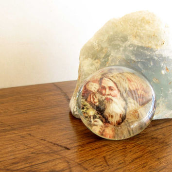 Glass Magnet Vintage Victorian Santa Claus Christmas Picture Magnet Gifts Under 5.00 #M8
