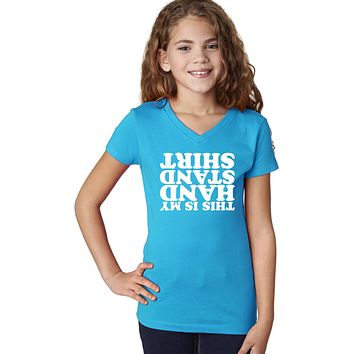 Girls Gymnastics T-shirt Handstand V-Neck