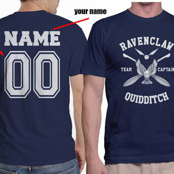 Custom Name and Number on back, White ink Ravenclaw Quidditch team Captain on MEN tee