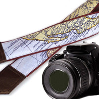 Brown camera strap. California Map Camera Strap. DSLR / SLR camera strap for Sony, canon, nikon, panasonic, fuji and other cameras.