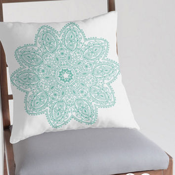 Mandala Pillow With Cover And Insert faux down Free Shipping Worldwide 18 x 18 Teal Blue