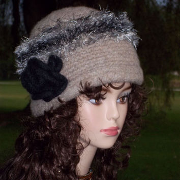 Pattern Knit Felt Cloche