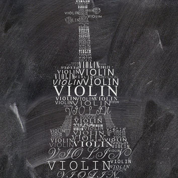 Violin print Typographic print Music art Music print Instant download Gift for music lover Living room decor Black and white print