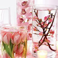 Bachelorette Party/Shower Ideas / Distilled Water + Silk Flowers + Dollar Store Vases, beautiful centerpieces.