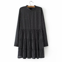 Black Dots Print Pleated Stand Collar Dress