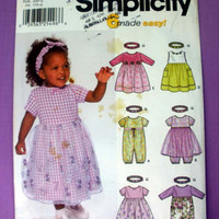Baby Dress, Romber and Headband, Infant Size Newborn, 3 mos, 6 mos, 12 mos, 18 mos Simplicity 7032 Sewing Pattern Uncut