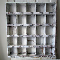 Large cubby wall hanging display French Nordic white distressed gray wood cubbie organizer shelf shabby cottage chic anita spero design