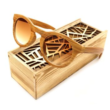 BOBO BIRD Simple Design Handmade Imitative Bamboo Wood Fashion Tawny Lens Cheap Ladies Summer Beach Glasses With Wooden Box 2017