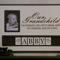 Personalized Childs Name Photo Frame Custom Wooden Picture Our Grandchild Grandkids are Gifts Wall Decor - Brown