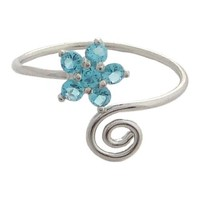 Hawaiian Jewelry Blue CZ Plumeria Flower Toe Ring from Hawaii