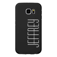 Modern Tough Personalized Black with White Text Samsung Galaxy S6 Case