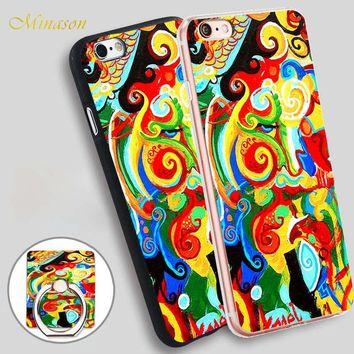 Minason Metaphysical Art Originals for Sale Mobile Phone Shell Soft TPU Silicone Case Cover for iPhone X 8 5 SE 5S 6 6S 7 Plus