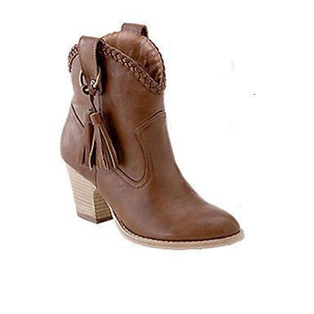 Retro Tassel Thick Heeled Women Motorcycle Boots 2137