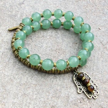 Good fortune, genuine green Aventurine 27 bead wrap mala bracelet™ with Hamsa hand and tiger's eye charm