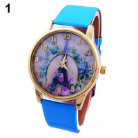 Women's Trendy Fashion Geneva Rose Flower Eiffel Tower Faux Leather Analog Quartz Wrist Watch ERO = 1956628996