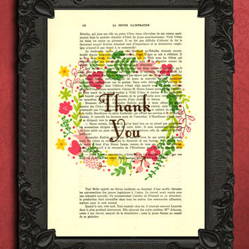 Thank you gift, summer flower wreath quote, vintage dictionary home decor