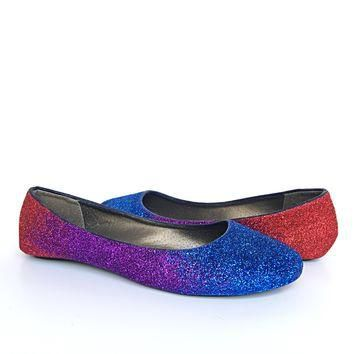 Purple Red Blue Glitter Flats, Violet Ombre Ballet Shoes