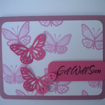 Butterfly Get Well Card FREE SHIPPING by lilaccottagecards on Etsy
